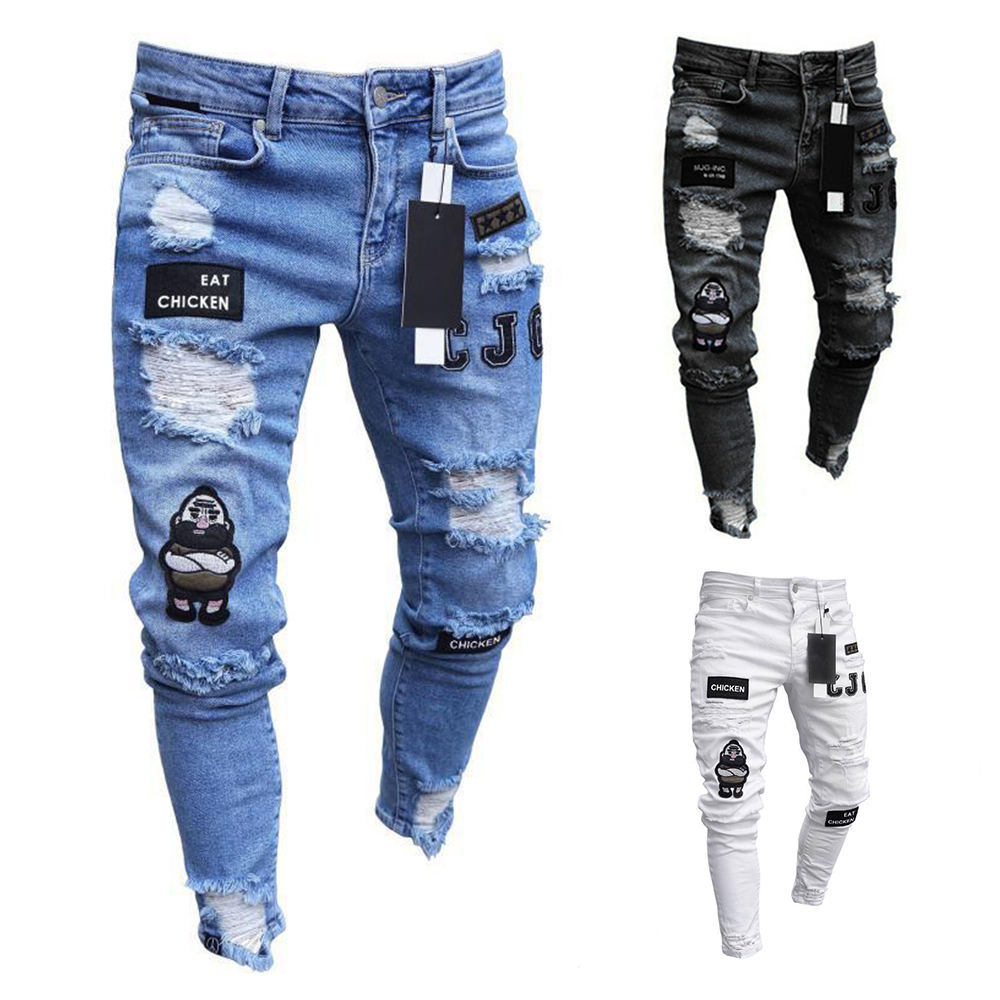 2021 New Italy Style Men's Distressed Destroyed Badge Pants Art Patches Skinny Biker White Jeans Slim Trousers men fashion jeans