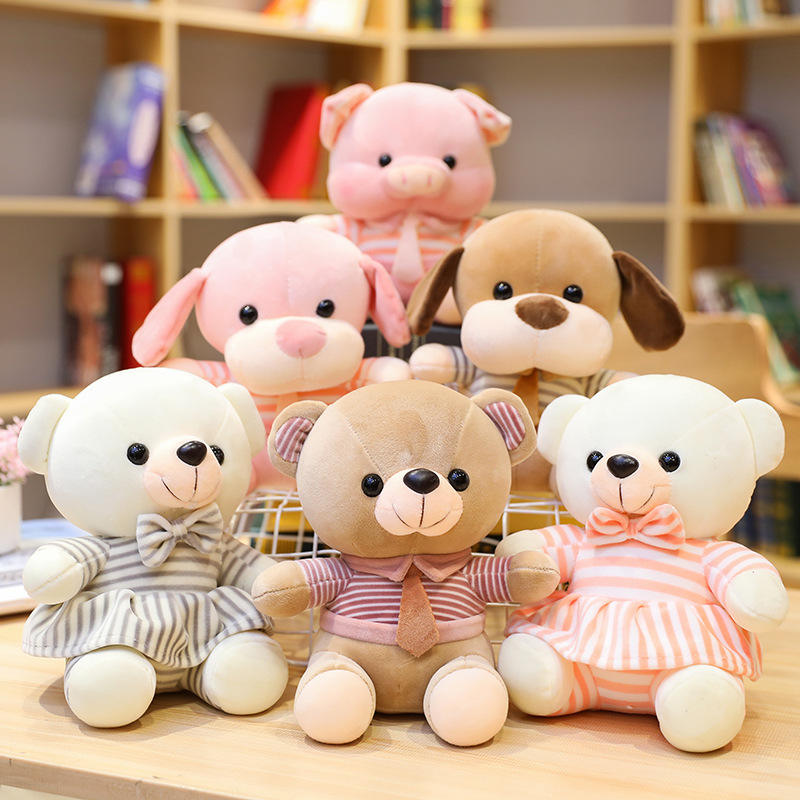 Striped teddy bear doll tie animal pig dog plush toy high quality boutique doll wholesale custom