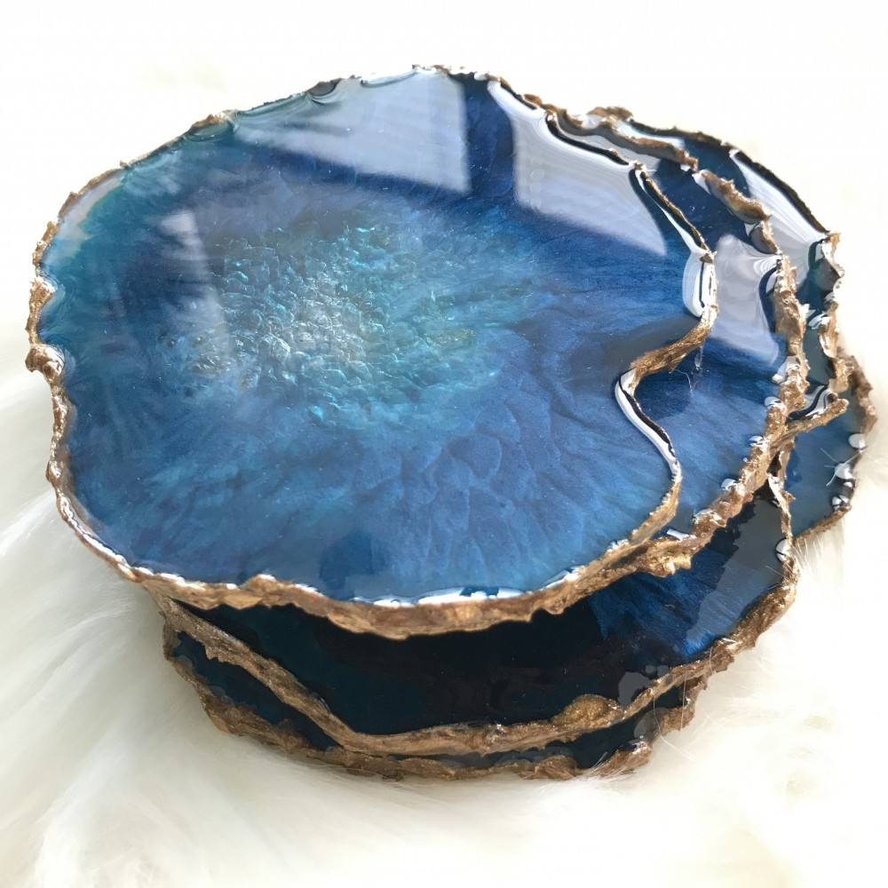 Table Decoration Natural Agate Stone Resin Coasters With Gold Silver Rims