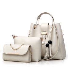 3Pcs Tassel  Set Women PU Leather Handbag Shoulder Bag Fashion Messenger Bag Handbag+Shoulder Bag+Purse