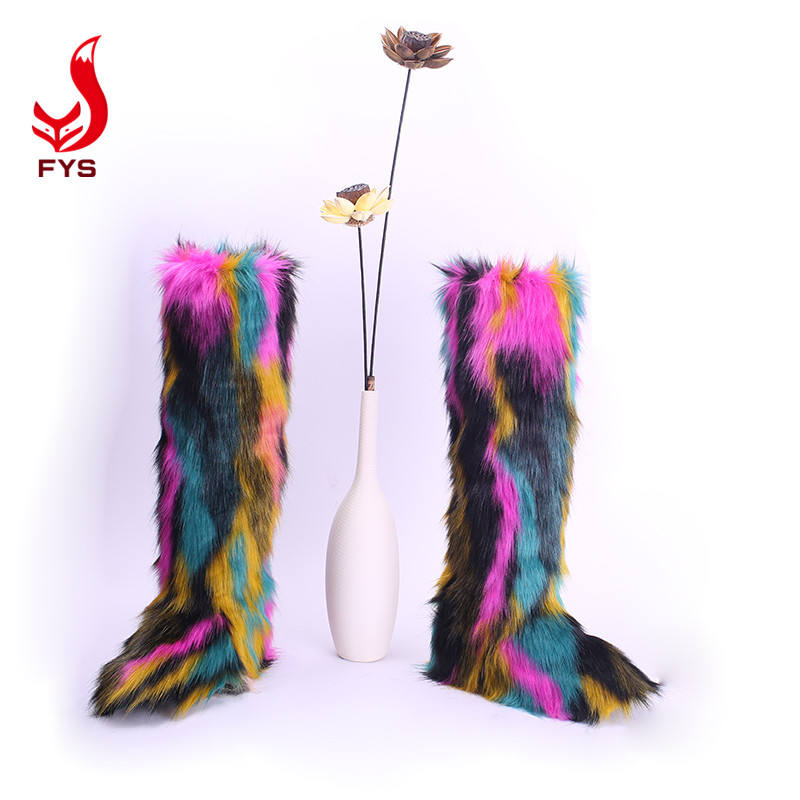 Wholesale multicolor fashion warm faux knee high snow boots pink women fur long boots with fur