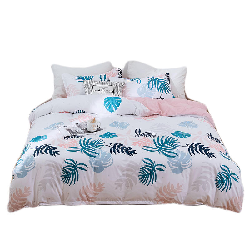 Home Decorative Textile Bed Cover Tropical Leaves Design Printed Pink Fancy Duvet Cover Bedsheet