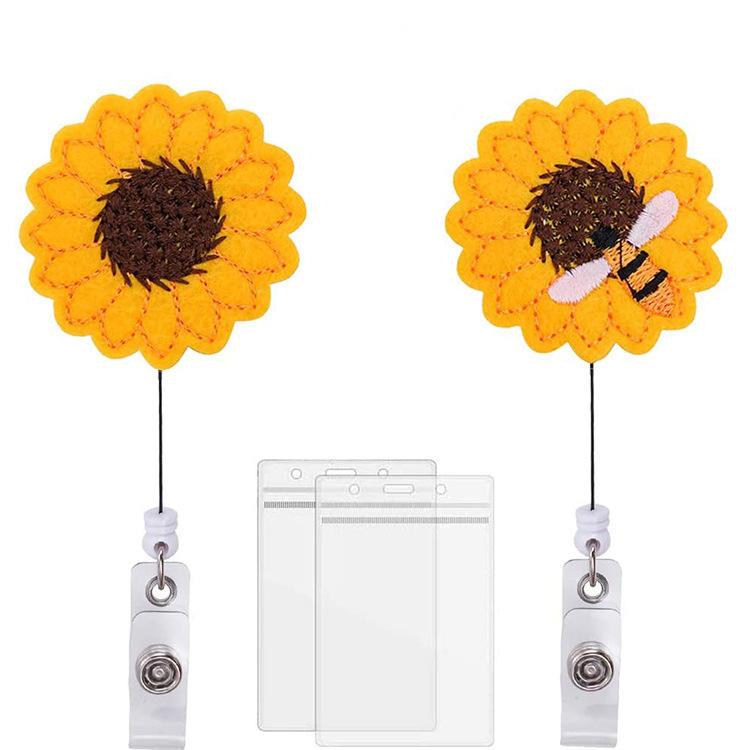 Rhinestones Yellow Sunflower Bee Retractable ID Badge Reel Nurse Badge Reel