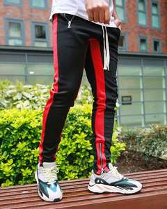 New fashion Europe men sidestripe solid color pocket street pants outdoor sports fitness casual trousers long pencil slim pants