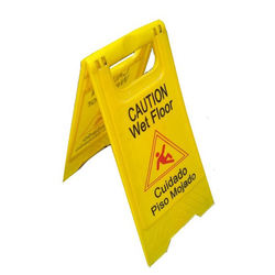 customized yellow plastic safety warning board cleaning caution wet floor warning sign