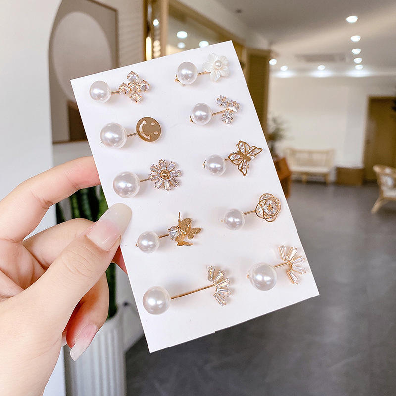 Hot Sale Latest Fashion Hijab Brooches Pearl Alloy Metal Channel Designer Brooches And Pins Pins For Woman