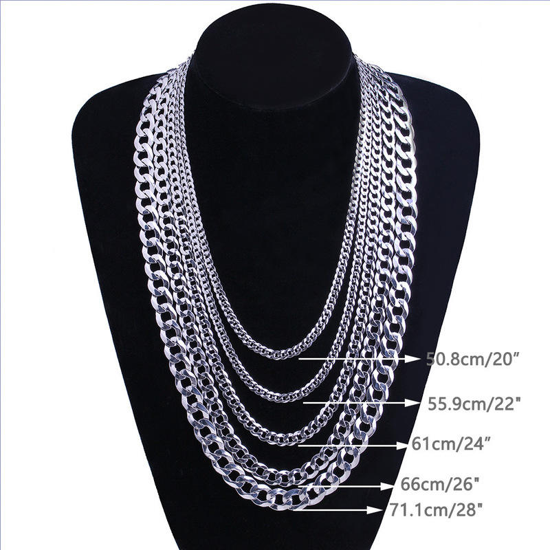 S925 Sterling Silver 4-12MM Necklace Men Hip Hop 20-30Inch Cubra Chain