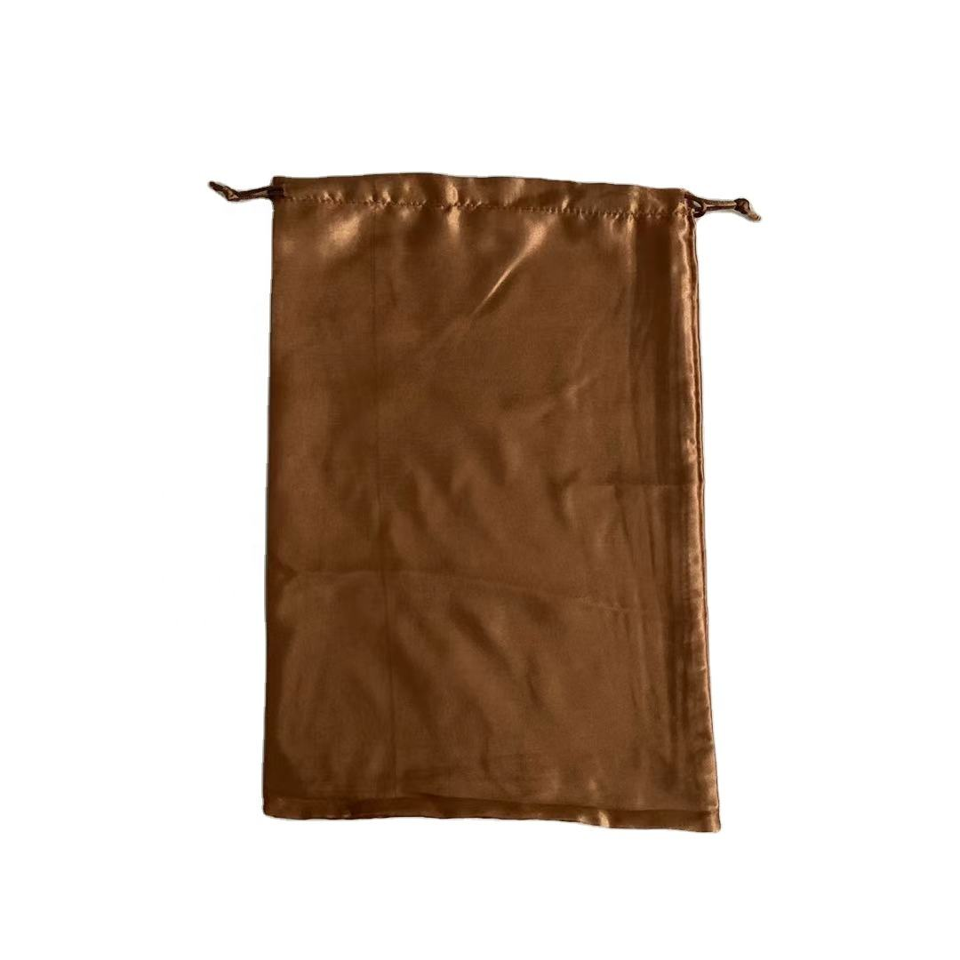 Brown color Drawstring satin Jewelry Pouches Wedding Party Christmas Favor Gift Candy Chocolate Bags