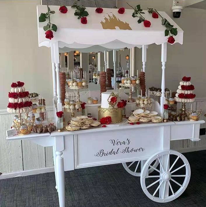 Modern Wooden Timber Flower candy cart display stand for wedding dessert decoration for sale with wheels