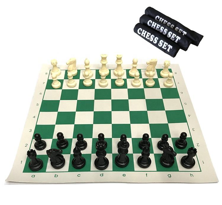 Travel international chess set with Vinyl chessboard portable canvas chess bag
