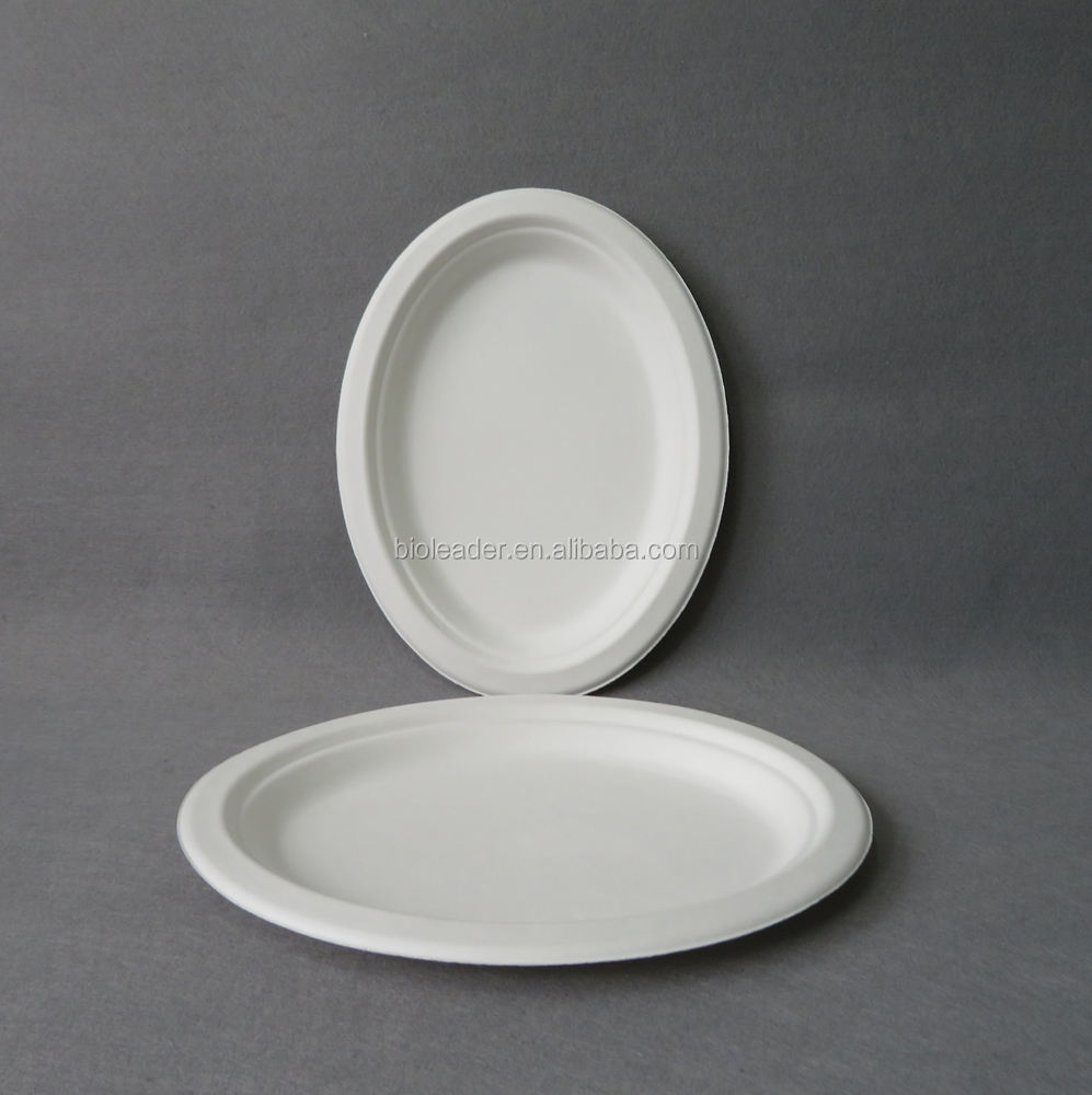Biodegradable Pakai Tebu Pulp Oval Takeaway Plate
