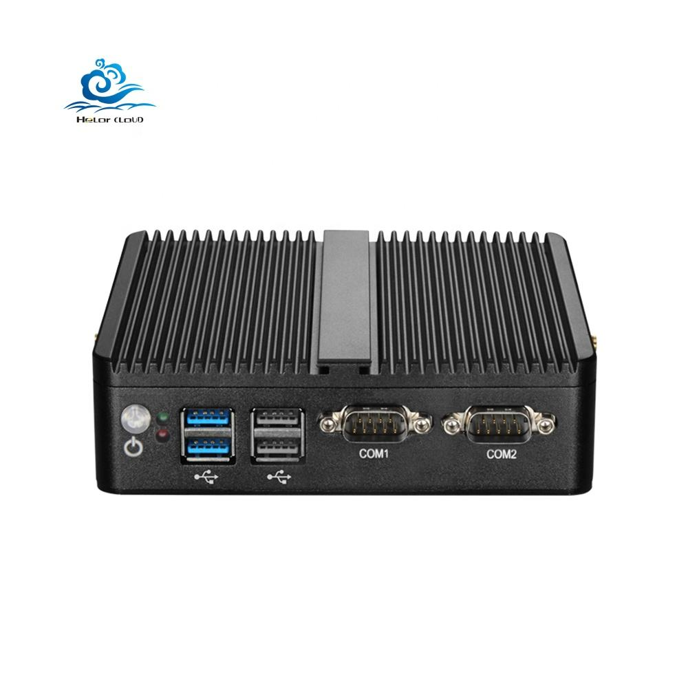 Tanpa Kipas Mini PC Window 10 4GB RAM Celeron J1800 J1900 3205U 3755U 2 Ethernet Mini PC 2 RS232 HTPC industrial PC VGA Wifi