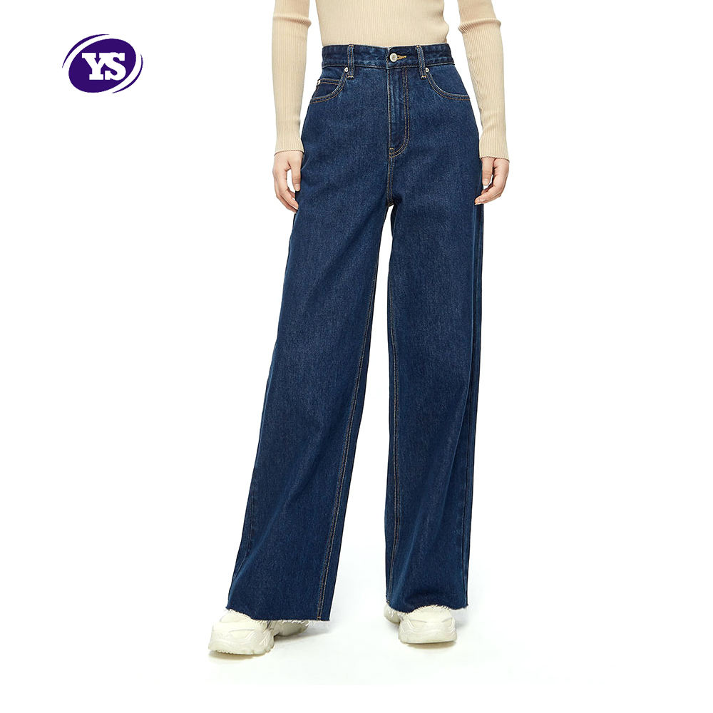 Light washing water retains the natural indigo primary color womens wide leg loose jeans
