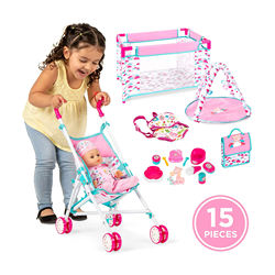 Kids 15-Piece 13.5in Newborn Baby Doll Nursery Role Play Play set w/ Stroller Cot Bag Accessories