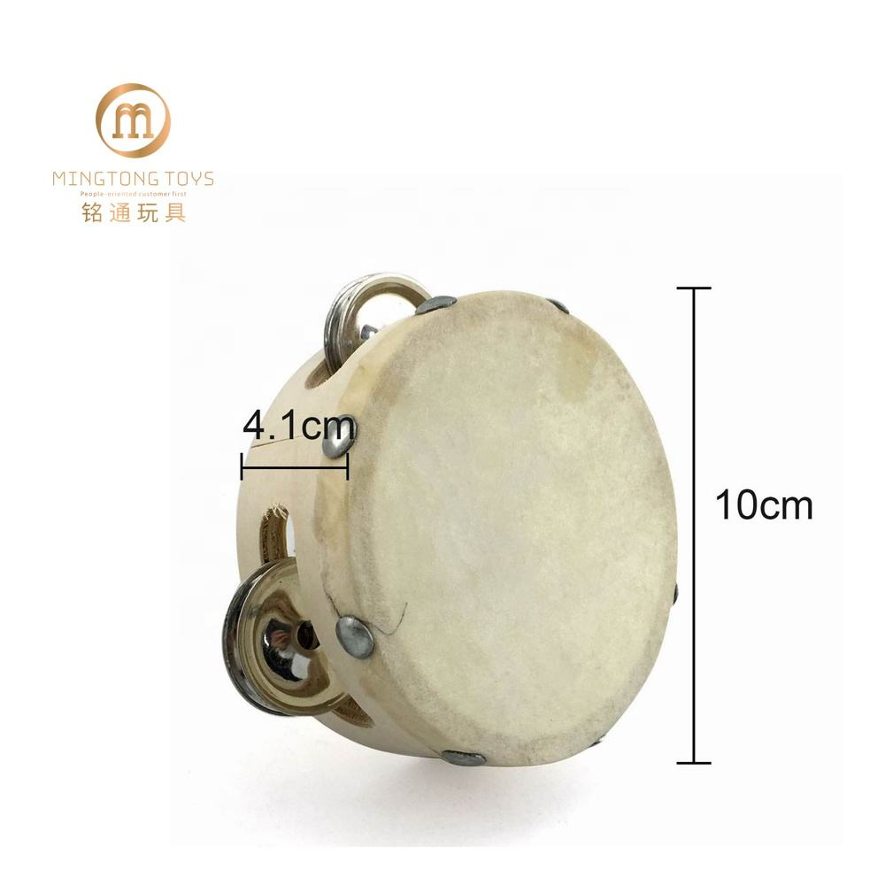 Wood Tambourine Education Musical Instruments Early Childhood Toy Wholesale Kids Party Gift Mini Wood Tambourine