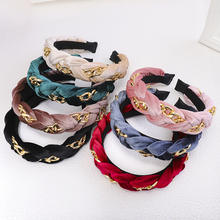 HB568 2019 European American Autumn Headdress Solid Color Plastic Hair Hoop Fashion Wide Head Band Twist Thick Velvet Headband