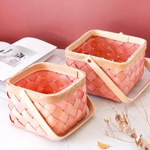 Hot sell chromatic wood chip fruit bread breakfast food vegetable basket colorful wood woven basket