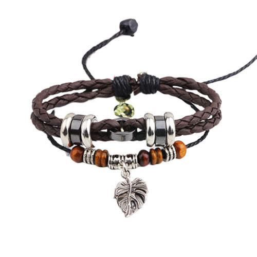 Woven Leather Jewelry Bangle Bracelet Black Multilayer Leather Wrap Bracelet with Hollow Leaf for Man