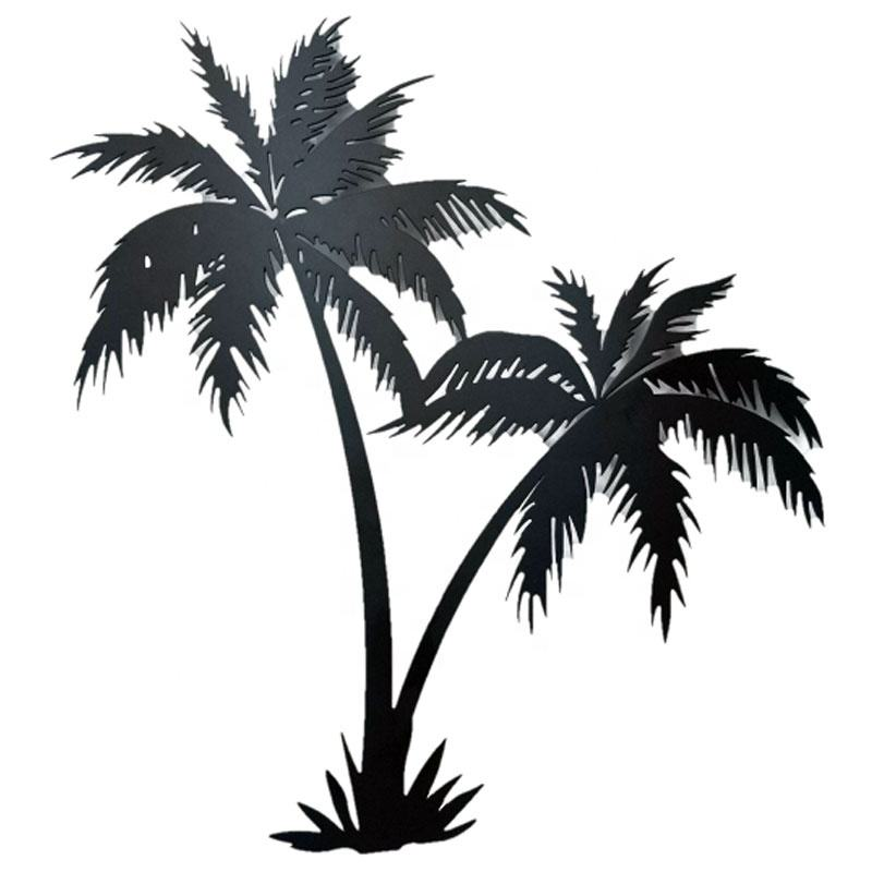 Black Beach Home Bedroom Wall Hanging Metal Art Palm Tree Decor