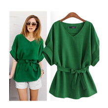 Summer Women Blouses Linen Tunic Shirt V Neck Big Bow Batwing Tie Loose Ladies Blouse Female Top women