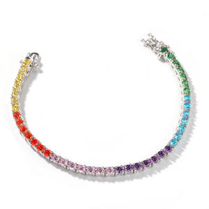 2020 New Arrival Personalizado Simples Quadril Lúpulo Iced Out Colorful Rainbow Zircon CZ Tennis Bracelet Cadeia