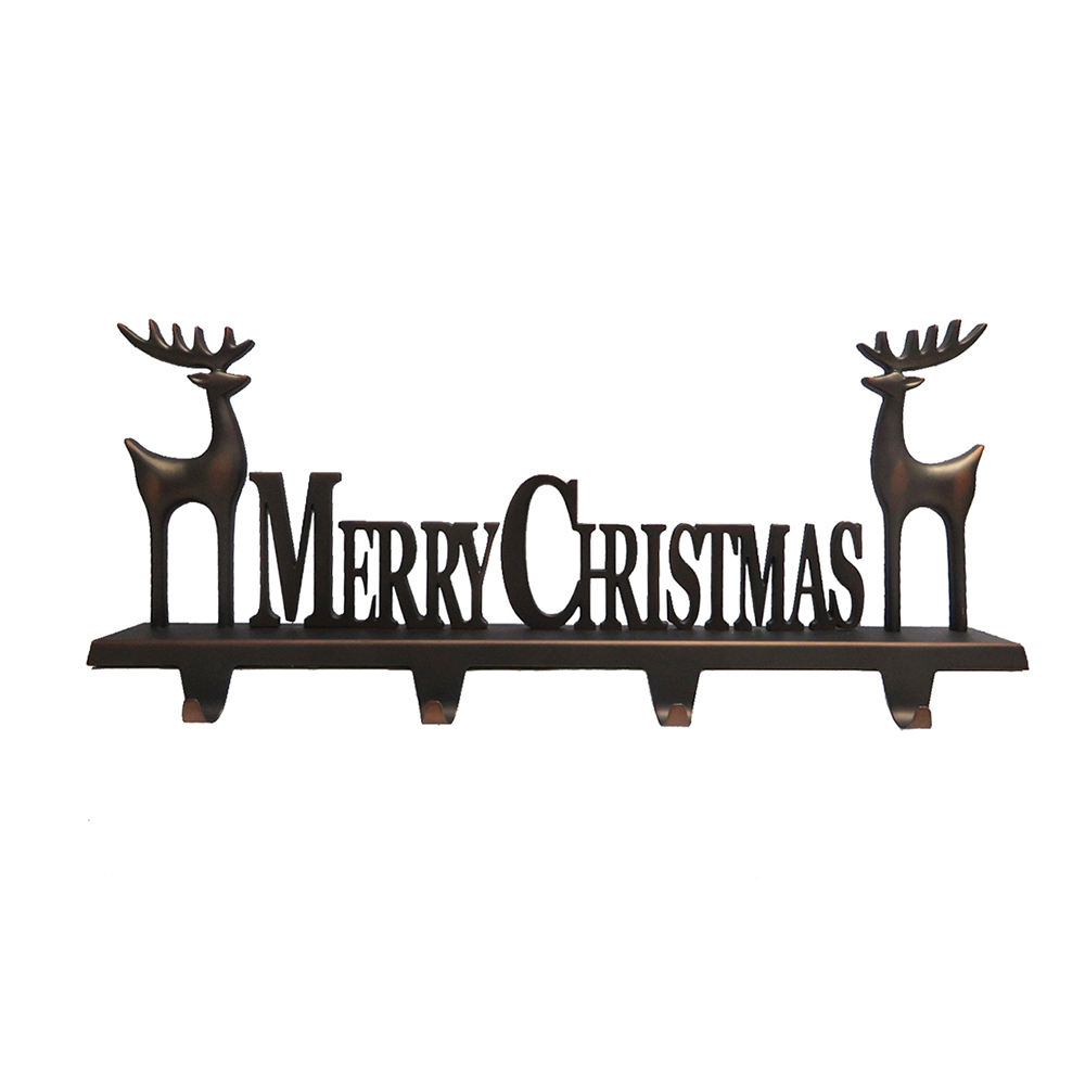 Merry Christmas Metal Hanger Christmas Hook Stocking Holder For Holiday Greetings Mantle Fireplace Topper