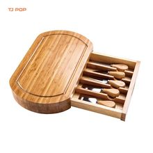 Premium Rectangle Bamboo Cheese  Cutting Board Set Tray with Knife Slide Out Drawer Cheese tool sets