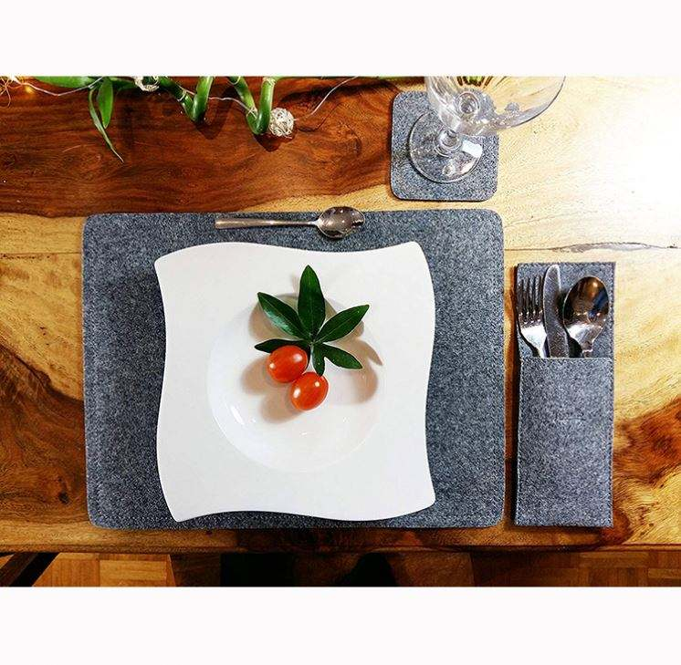 Grey Felt Placemat with Glass Coasters and Cutlery Bags kitchen tablemat