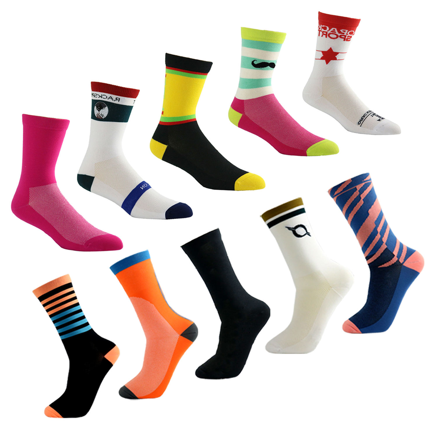 Wholesale Custom Logo Fashion Compression Nylon Men Sport Cycling Socks Oem