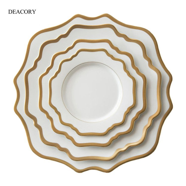 DEACORY Commercio All'ingrosso Fatto A Mano Piatti <span class=keywords><strong>In</strong></span> <span class=keywords><strong>Ceramica</strong></span> Fine <span class=keywords><strong>Piatto</strong></span> di Porcellana Piatti di <span class=keywords><strong>Ceramica</strong></span> Piatti Da Sposa per Ristoranti