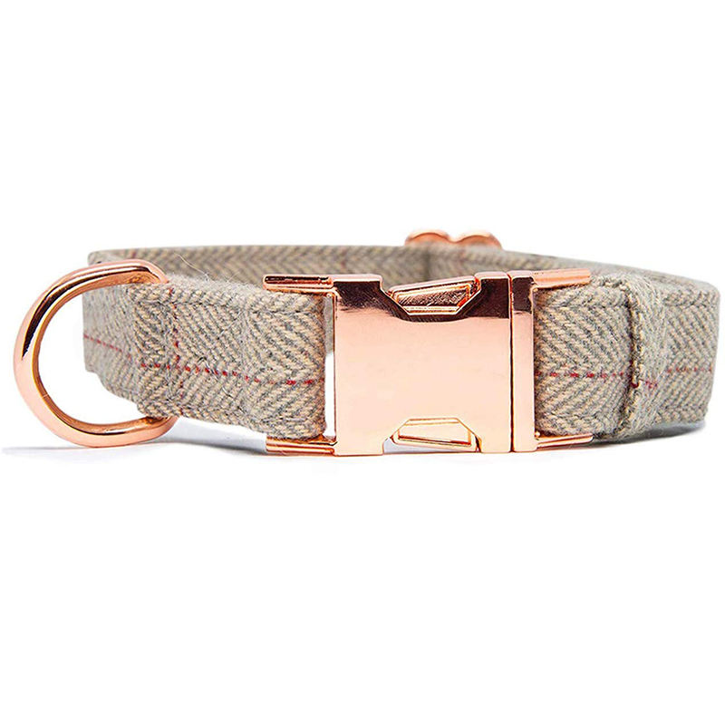 Pet Supply Soft Comfy Tweed Cotton Dog Collar with Rose Golden Metal Buckle