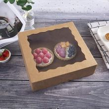 Auto-Popup Cardboard Gift Packaging White Bakery Box with Window For Donuts Baking Cookies Brownies Pie