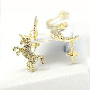 925 silver zircon unicorn craft fantasy earrings Women Costume Fashion Jewellery Fashion asymmetric design earrings