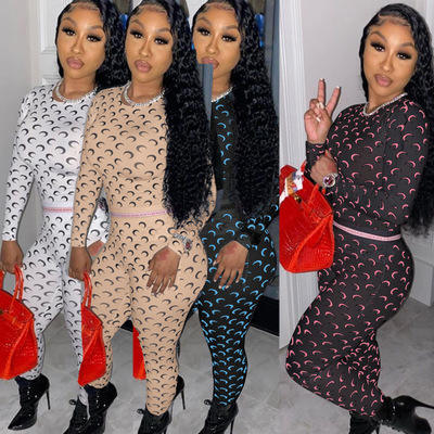 Printed 2 Piece Set Women Jumpsuits and Rompers Womens Tracksuits Outfits Women Two Pieces Jogging Set