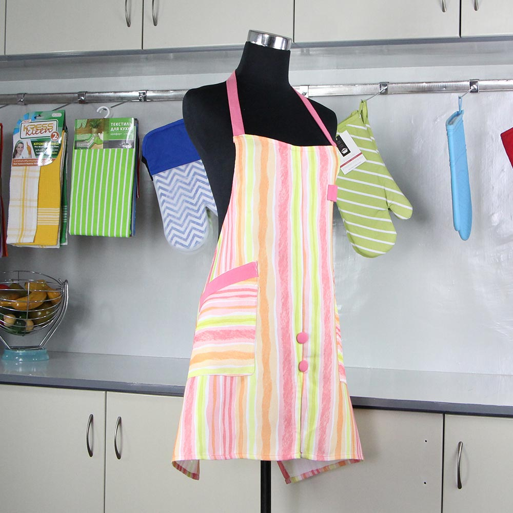 Hot sale Soft vertical stripe Customized Color pink Waterproof cotton Apron