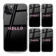 Glossy Diamond Words Black Mobile Phone Cover for iPhone 6 7 8 X XR 11Pro Max Hard Tempered Glass Design Phone Case