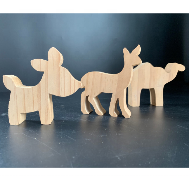 Unpainted wooden craft animal shapes wood ornament home decoration pieces