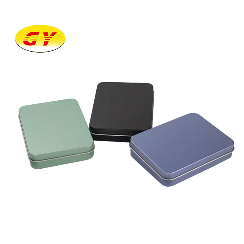 Small rectangular matte black tin packaging customized available