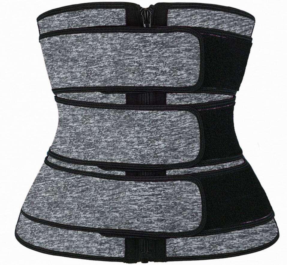 NANBIN YKK Zipper Snow Grey 3 Belts Waist Trainer Corset Plus Size