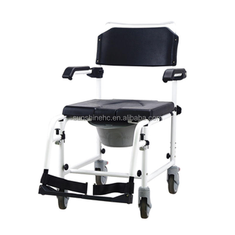Homecare Medical Aluminum Mobile Toilet Commode Wheelchair With Toilet Seat BA810