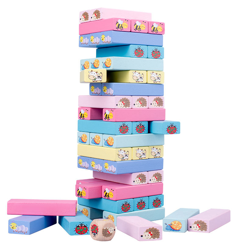 2020 New Montessori Wooden Building Blocks Cute Cartoon Toys Animal Kids Educational Stack tall wooden Toys