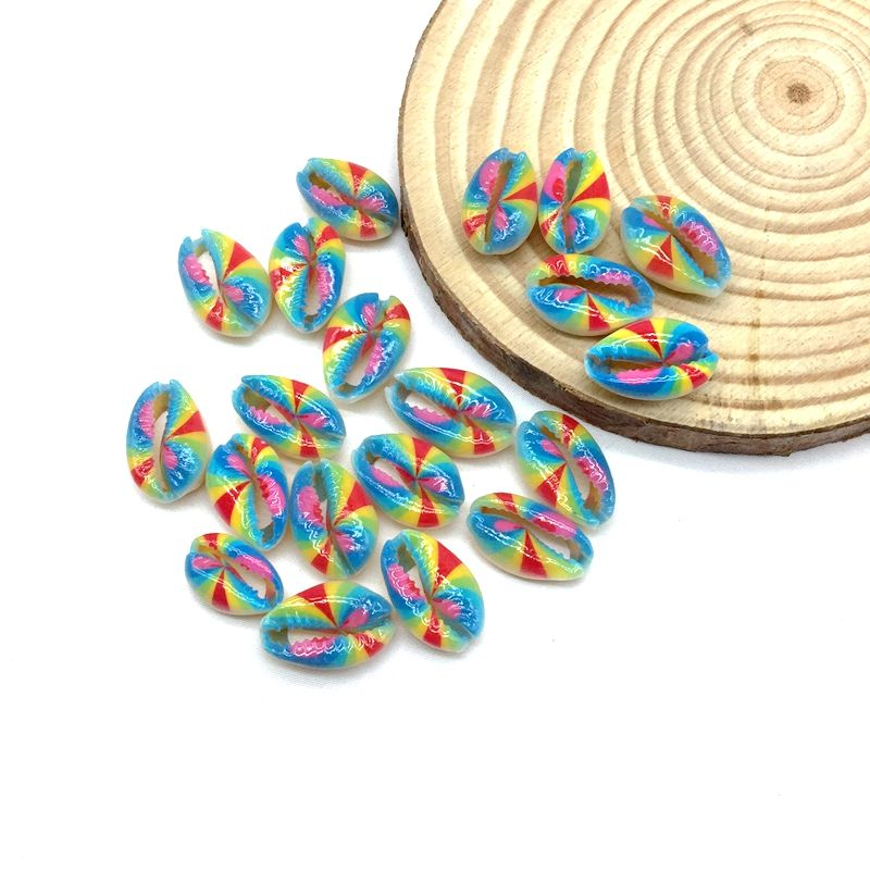 Printed Flower Sea Cowrie Shell Beads Spiral Sea Shell Beach Gift Charms For DIY Making Jewelry Accessory