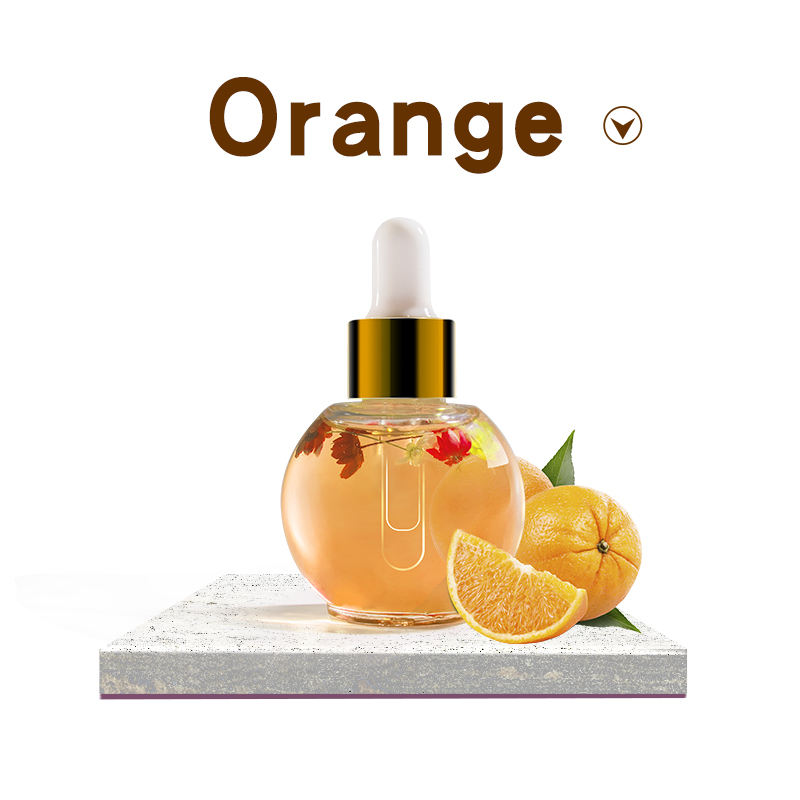 EC cosmetics 15ml Nails Care oil with dry flowers orange fragrance OEM private label logo blossom nail cuticle oil