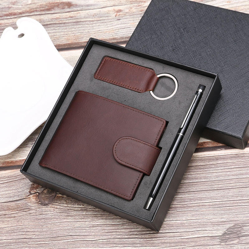 three piece set mens gifts genuine leather rfid wallet luxury gift sets men business corporate wallet pen key buckle gift set