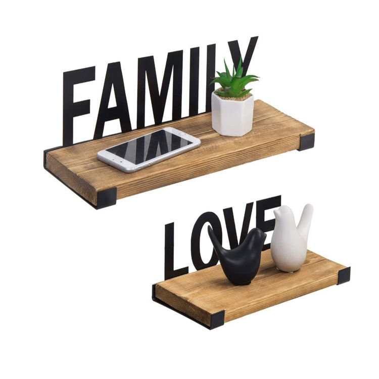 Burnt wood black metal family love design wall mounted floating display shelves wood display wall shelf design