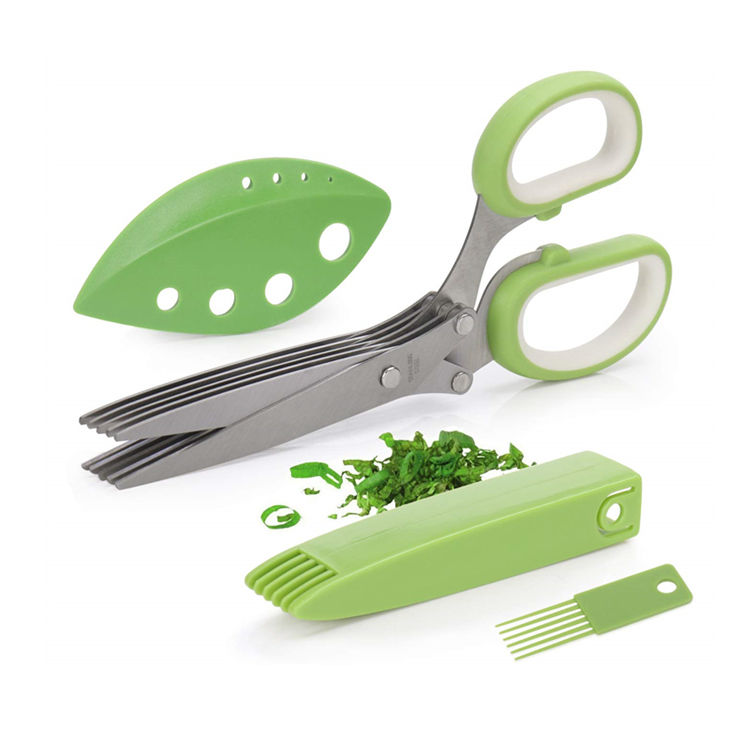 Multi-Function Home Kitchen Stainless Steel 5 Blade Scissor Set Herb Stripper Brush Shears Vegetable Herb Scissors