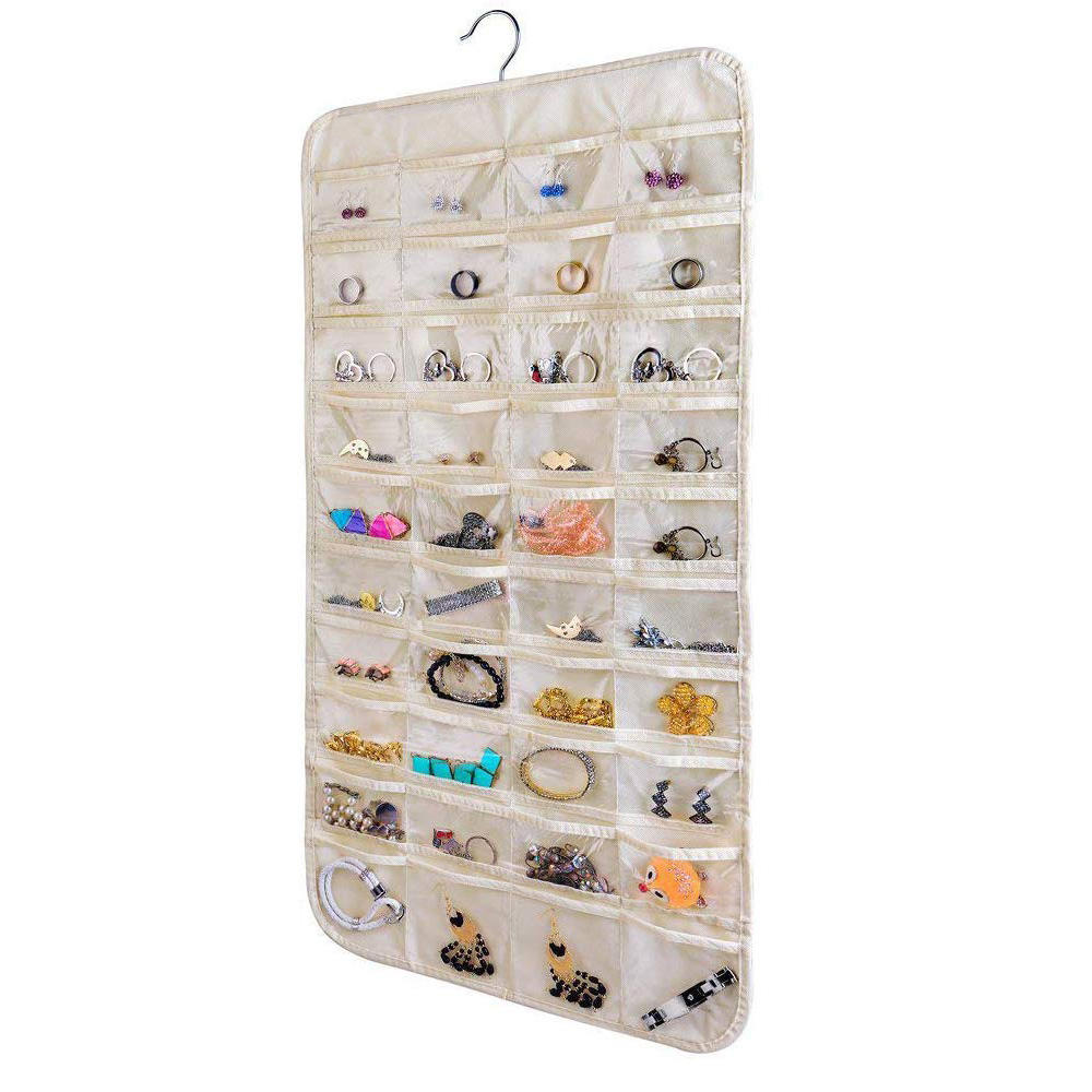 easy to access closet wall hanging fabric clear pockets necklace jewelry hanging organizer
