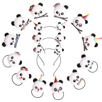 Panda Hair Clips Cartoon Cute Children's Hair Accessories Bow Panda Baby Headband Hair Strap