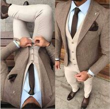 Custom Made Winter Tweed  Man Business Suits Groom Tuxedos Slim Fits Men Prom Party Coat Trousers Sets (Jacket+Vest+Pants)