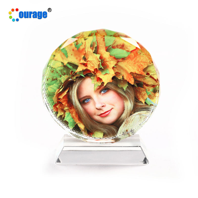Small size round decoration sublimation photo crystal frame glass BSJ-03B
